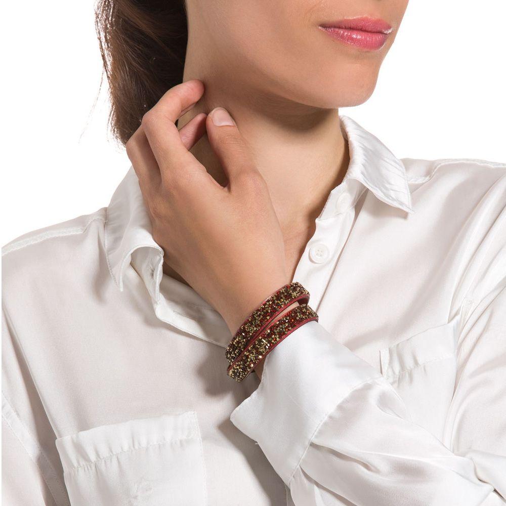 Swarovski - Gold and Red Swarovski Crystal Elements and red leather Bracelet