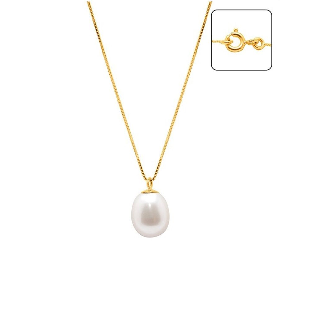 White Freshwater Pearl Necklace and Yellow Gold 375/1000