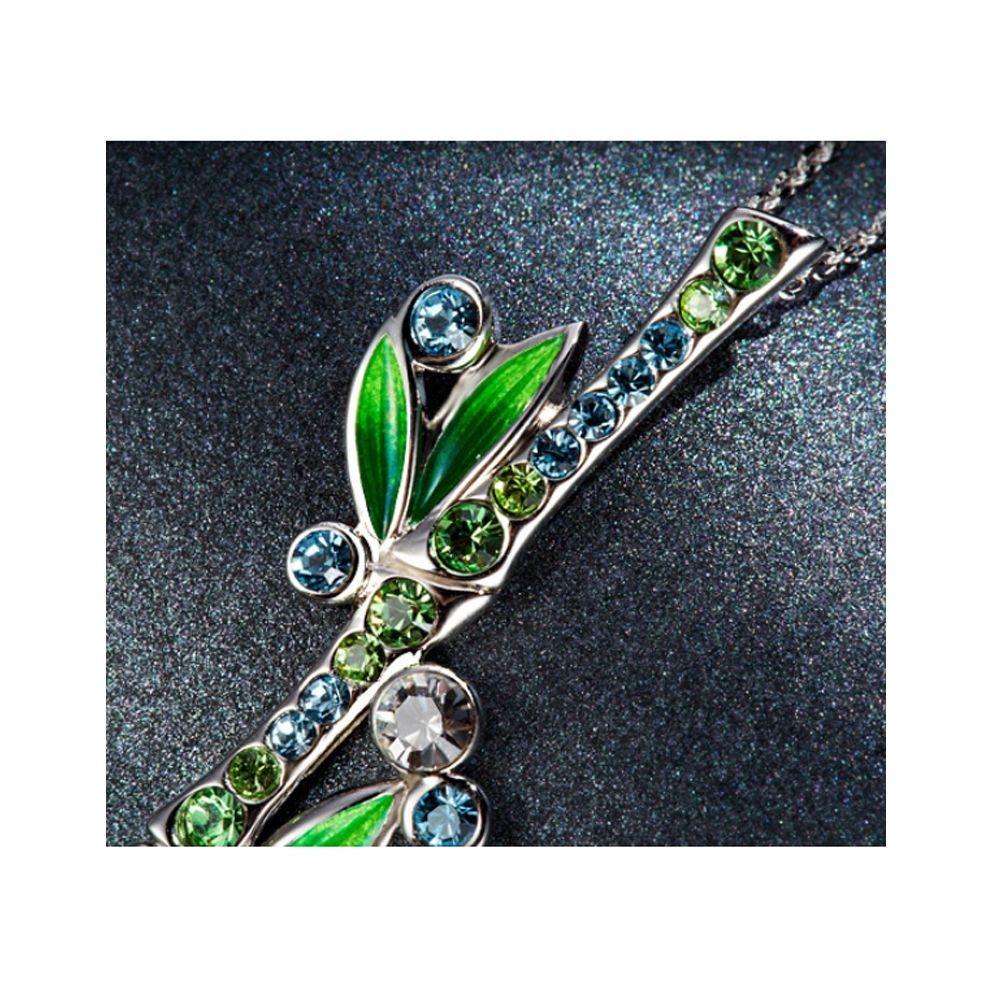 Blue and Green Crystal Swarosvki Elements Bamboo Pendant