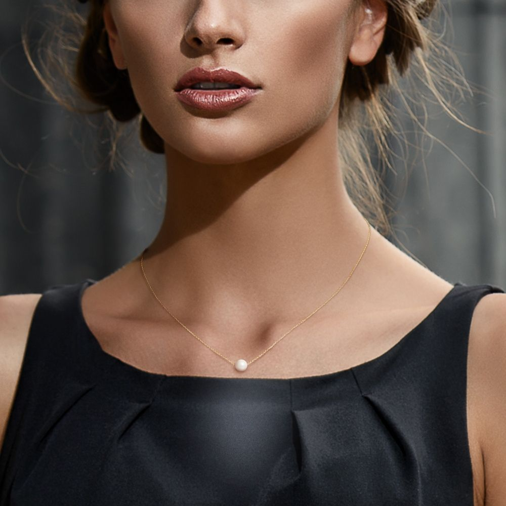 750/1000 yellow gold Venitian Chain and White Freshwater Cultured Pearl Woman Choker Necklace