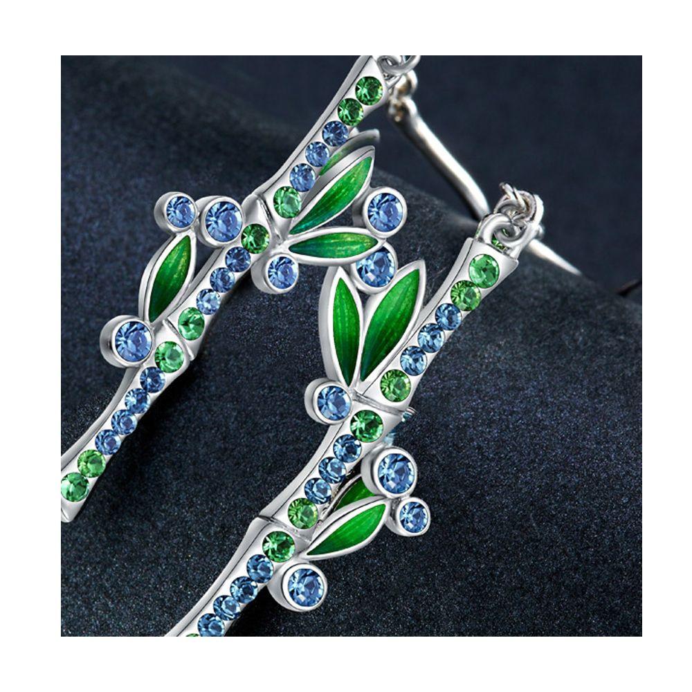 Swarovski - Blue and Green Swarovski Crystal Elements Bamboo Earrings