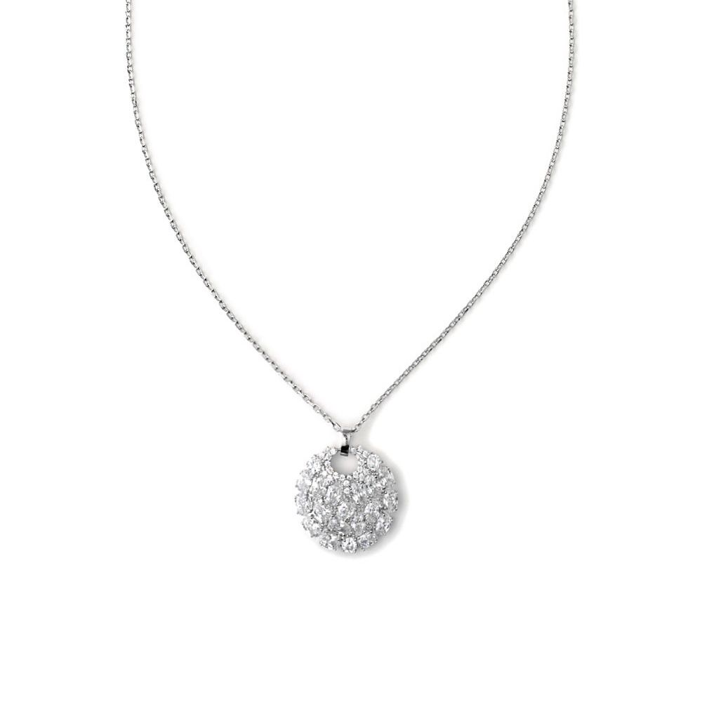 Rhodium Plated Necklace and Cubic Zirconia White