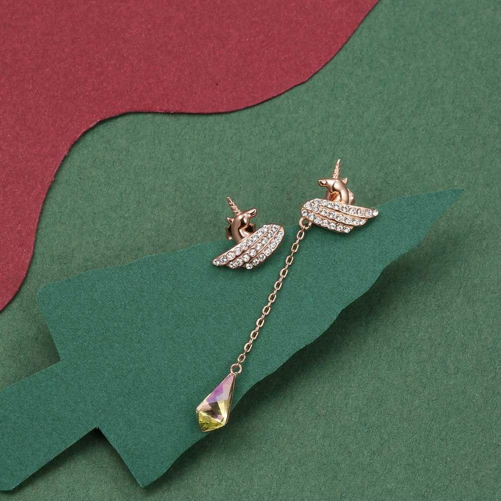 Swarovski - Women's Unicorn and Swarovski Crystal Dangling Earrings