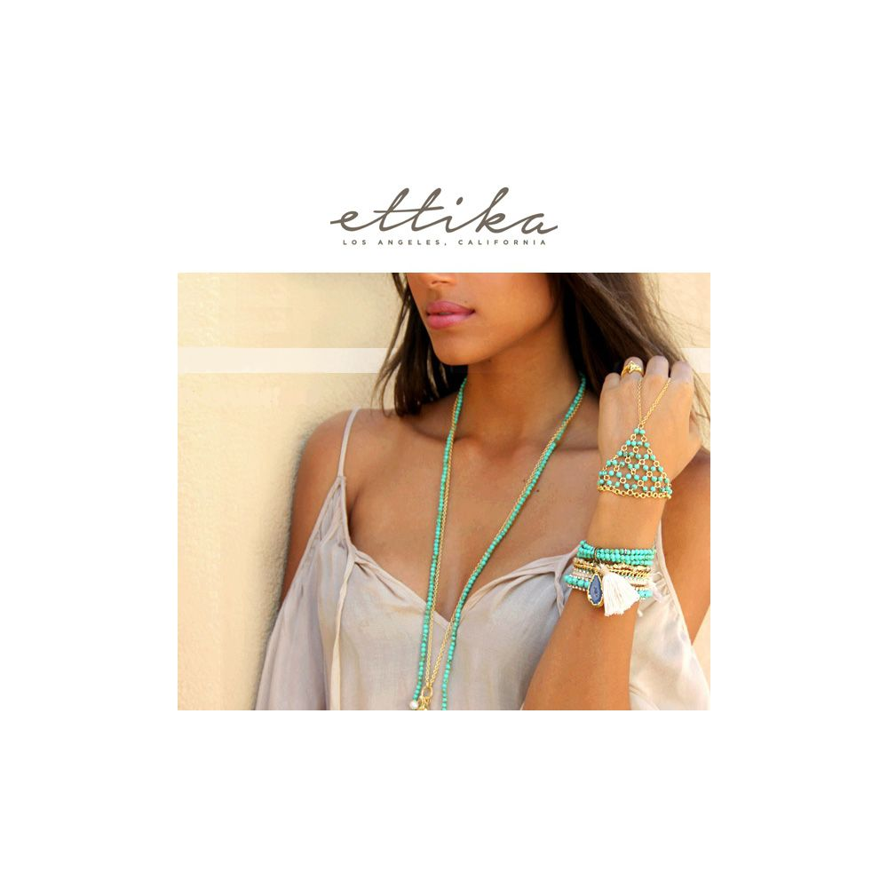 Ettika - Green Braided Cotton, White Crystal Friendship Bracelet and Yellow Gold Plated