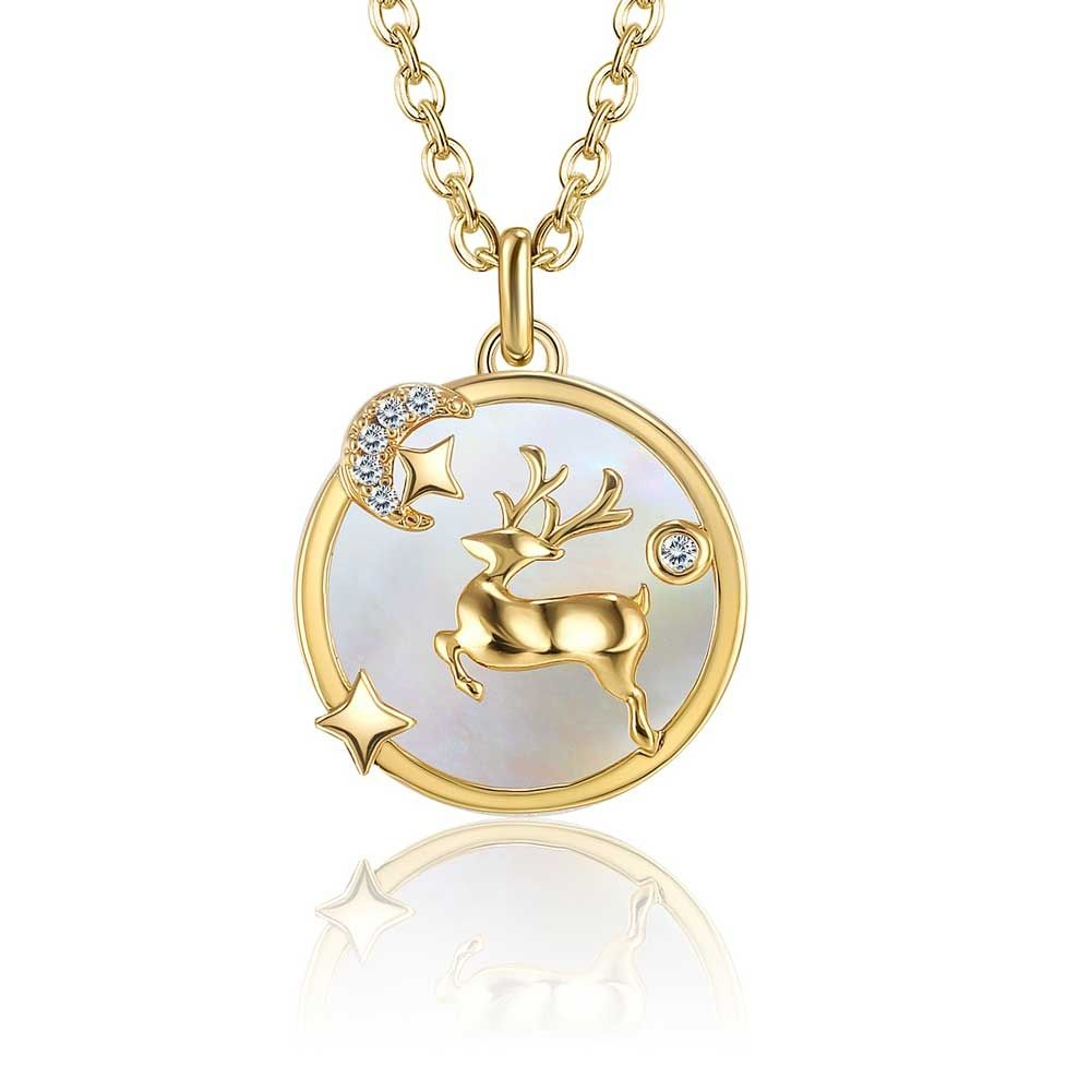 Swarovski - Necklace Woman White Swarovski Crystal Reindeer Pendant and Yellow Gold Plated