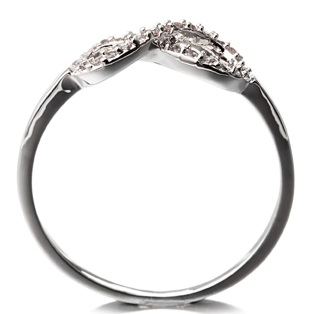 Rhodium Plated Infinity Ring and White Cubic Zirconia