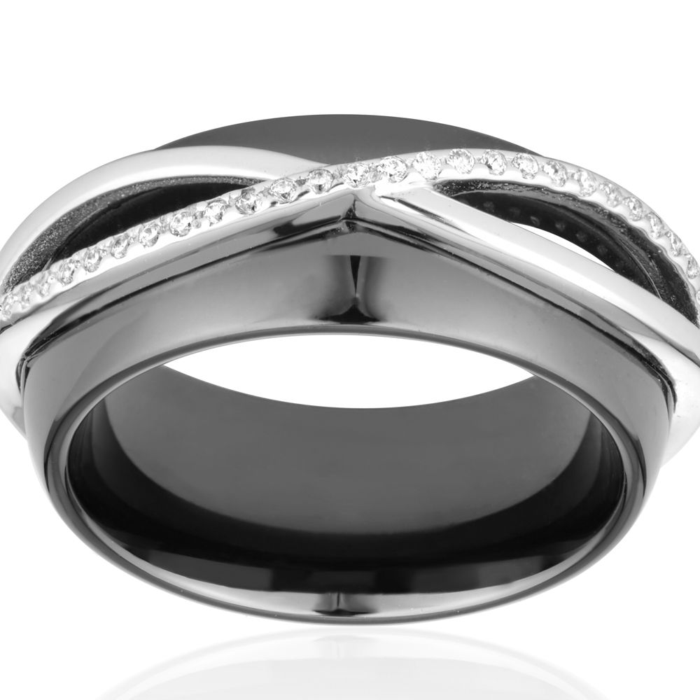 White Cubic Zirconia Crystals Ceramic Black Ring and Silver Sterling
