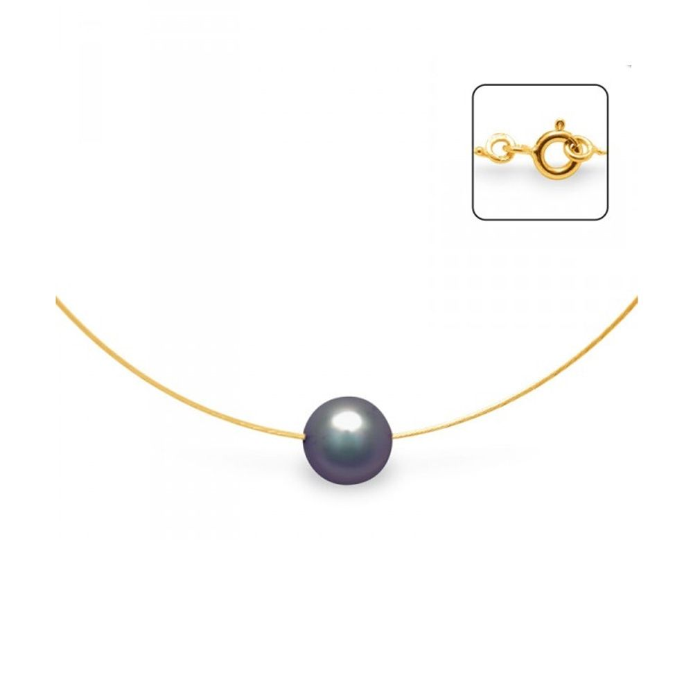 Black Freshwater Pearl Cable Choker Necklace and Yellow Gold 750/1000
