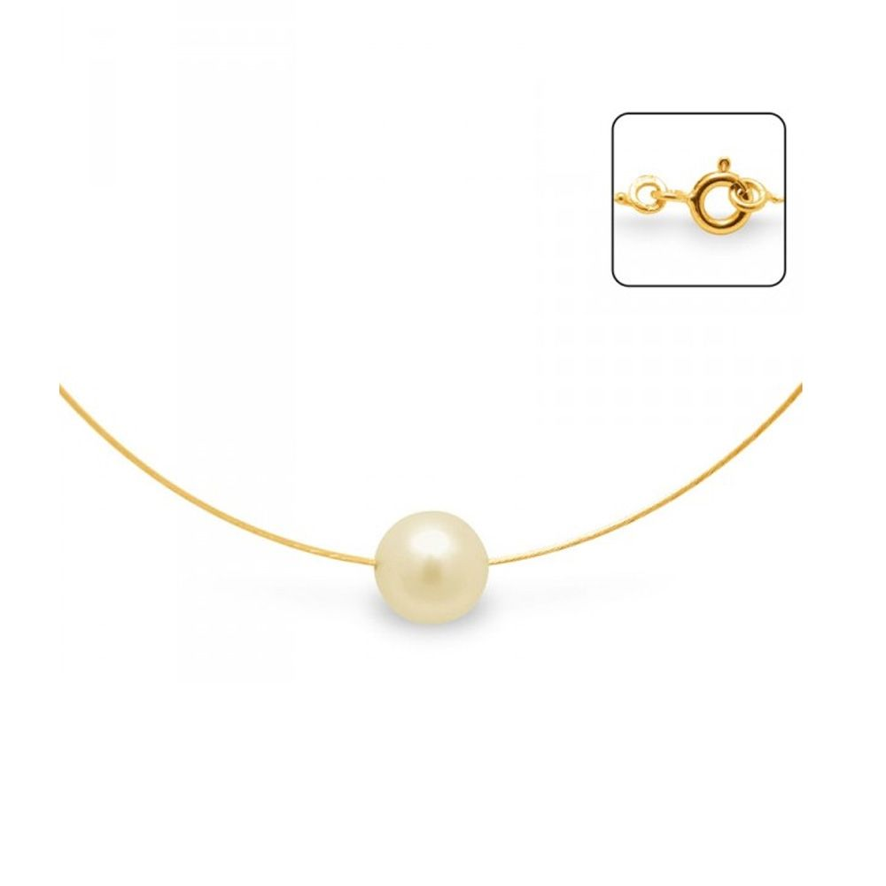 Gold Freshwater Pearl Cable Necklace and Yellow Gold 750/1000