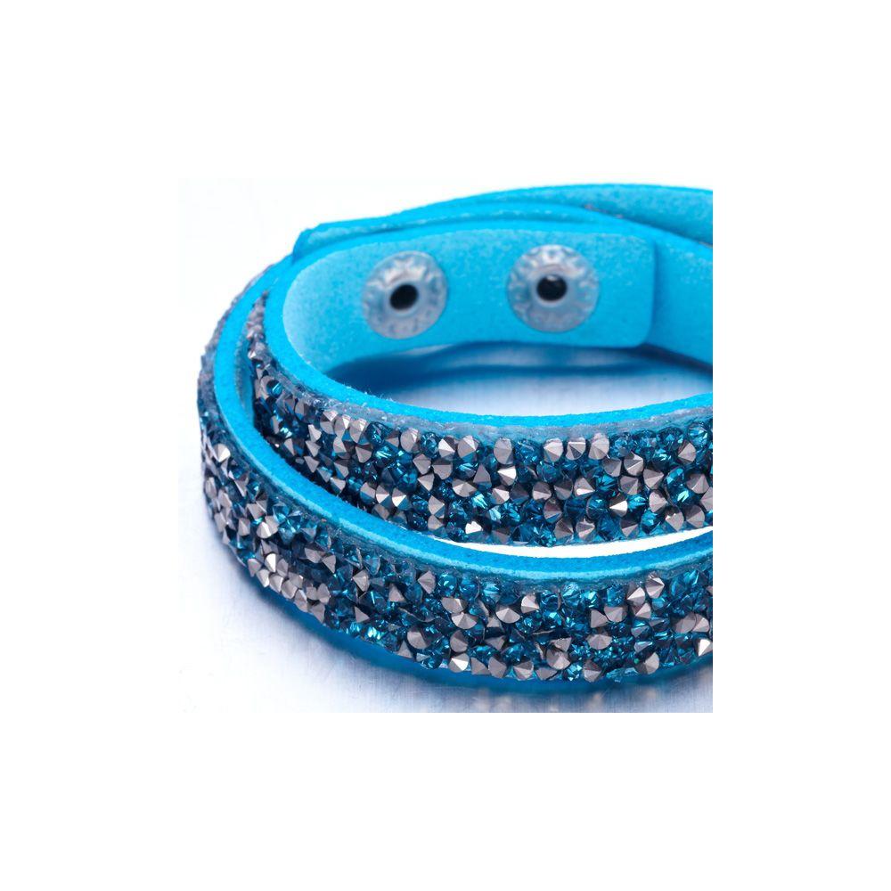 Swarovski - Silvery and Turquoise Swarovski Crystal Elements and leather Bracelet