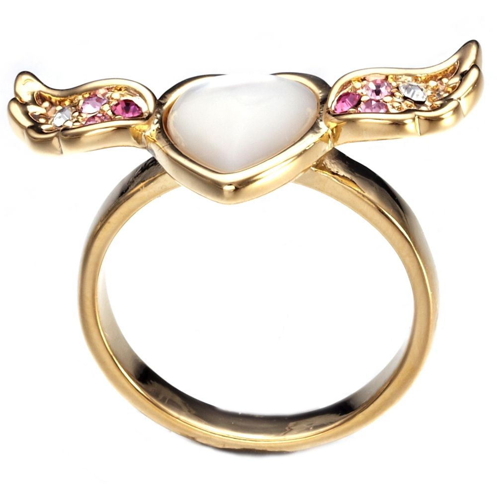 Swarovski - Pink White Swarovski Elements Crystal Heart and Wing Mother of Pearl Ring
