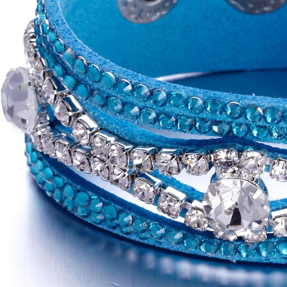 Swarovski - Blue and White Swarovski Crystal Elements and leather Bracelet