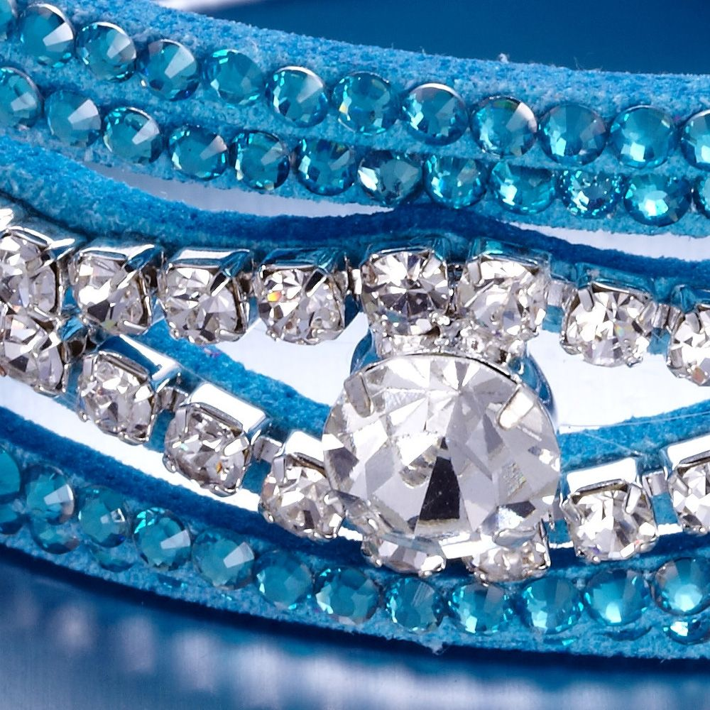 Swarovski - Blue and White Swarovski Crystal Elements and leather Bracelet