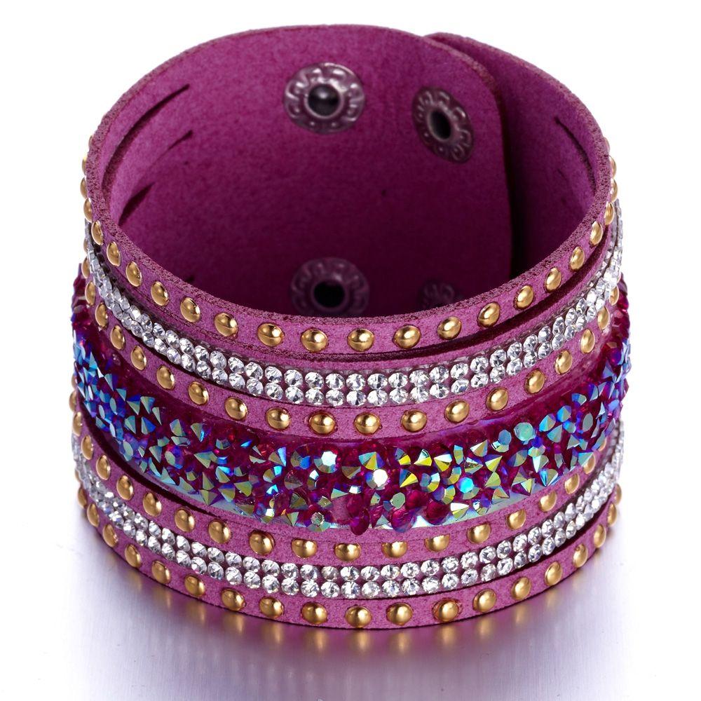 Swarovski - White Swarovski Crystal Elements and pink leather Bracelet