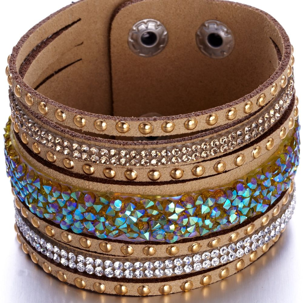 Swarovski - Brown and White Swarovski Crystal Elements and Brown leather Bracelet