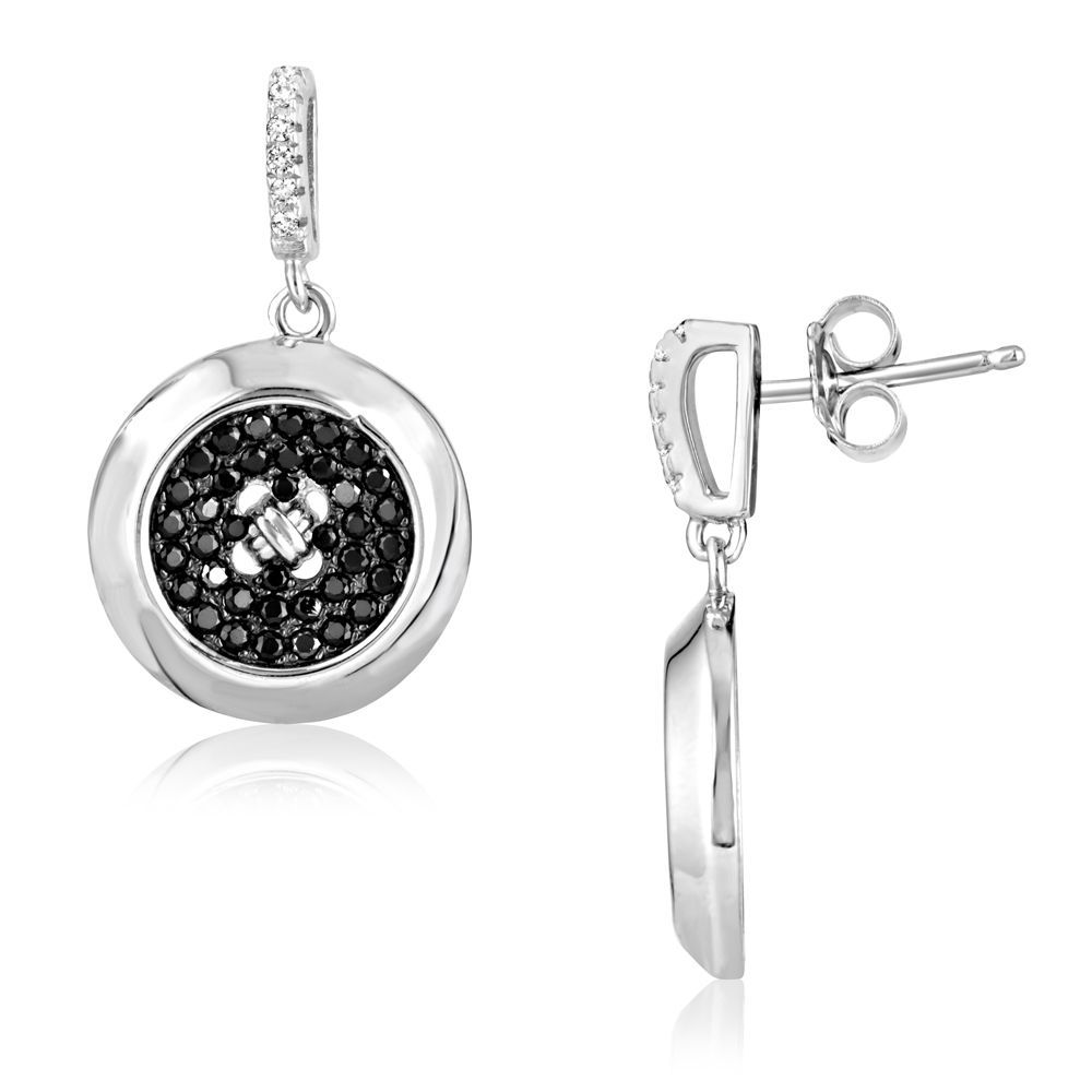 Swarovski - Silver Earrings and 88 Black and White Swarovski Crystals Cubic Zirconia