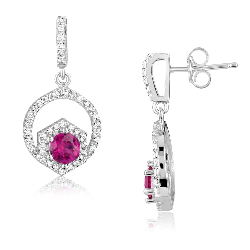 Swarovski - 88 White and Red Swarovski Crystal Zirconia and 925 Silver Earrings