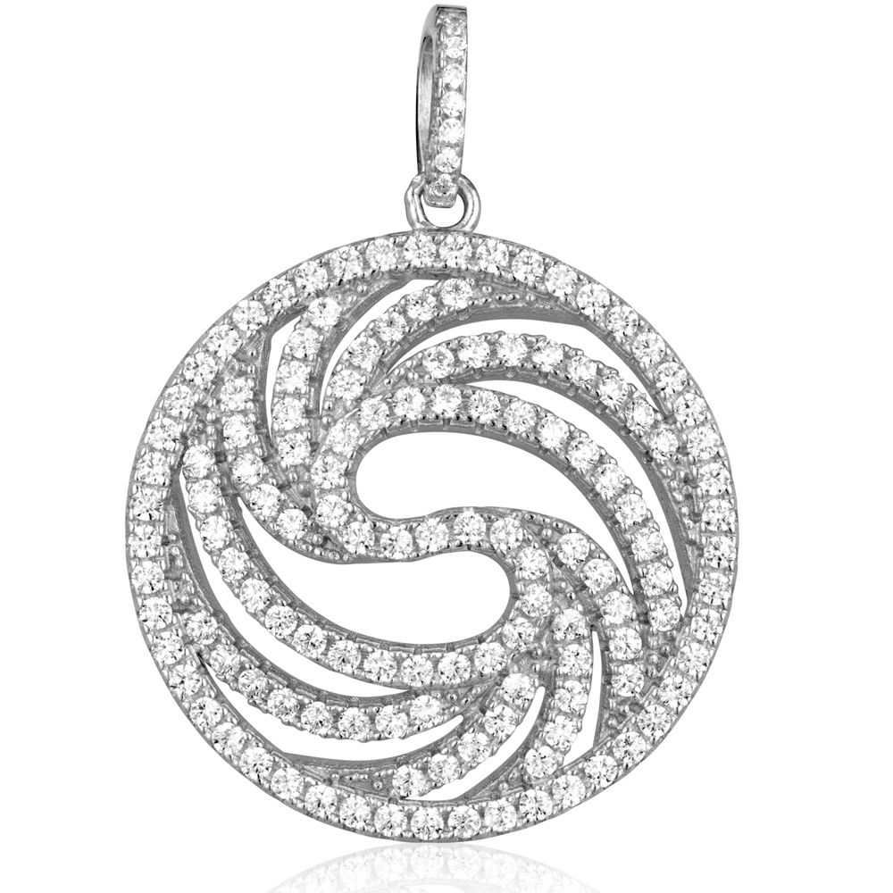 Swarovski - Circle Silver Pendant and 137 White Swarovski Crystals Cubic Zirconia