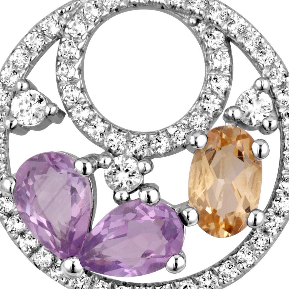 Swarovski - Silver Pendant and 70 white Swarovski Zirconia crystals, Amethyst and Citrine