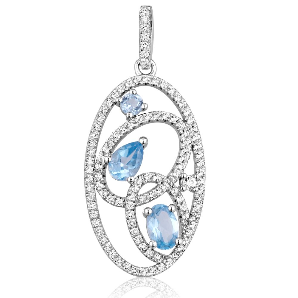 Swarovski - 111 White and Blue Swarovski Zirconia Crystal Pendant and 925 Silver