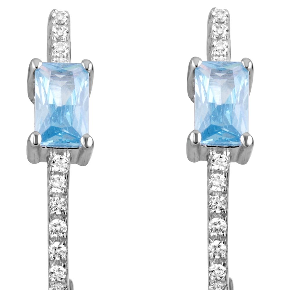 Swarovski - 28 White and Blue Swarovski Zironia and 925 Silver Earrings