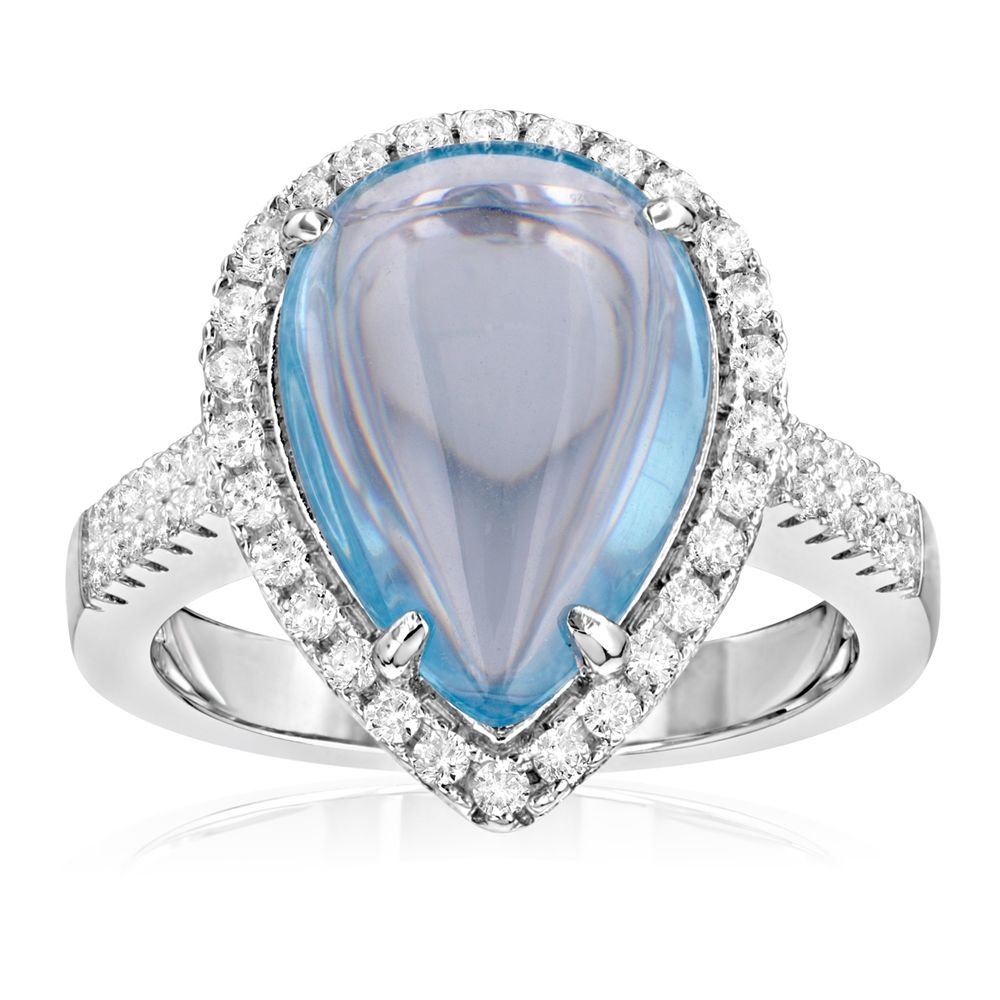 Swarovski - 49 White Swarovski Crystal Zirconia and Blue Natural Stone Ring and 925 Silver