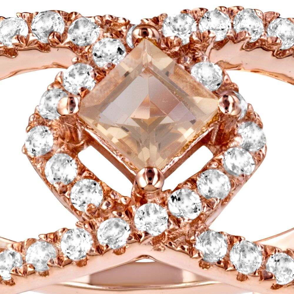 Swarovski - 49 White and Champagne Swarovski Crystal Zirconia and 925 Silver and Rose Gold Plated