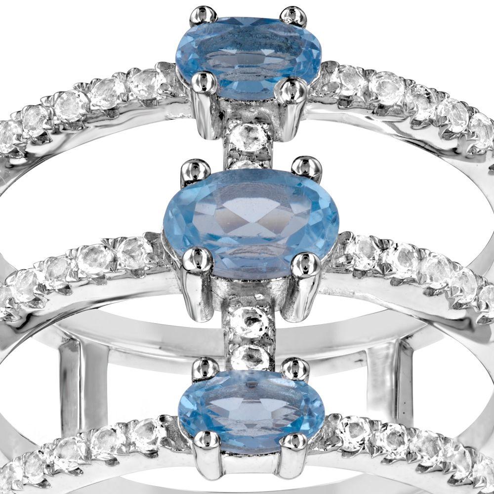 Swarovski - 49 White and Blue Swarovski Crystal Zirconia Ring and 925 Silver