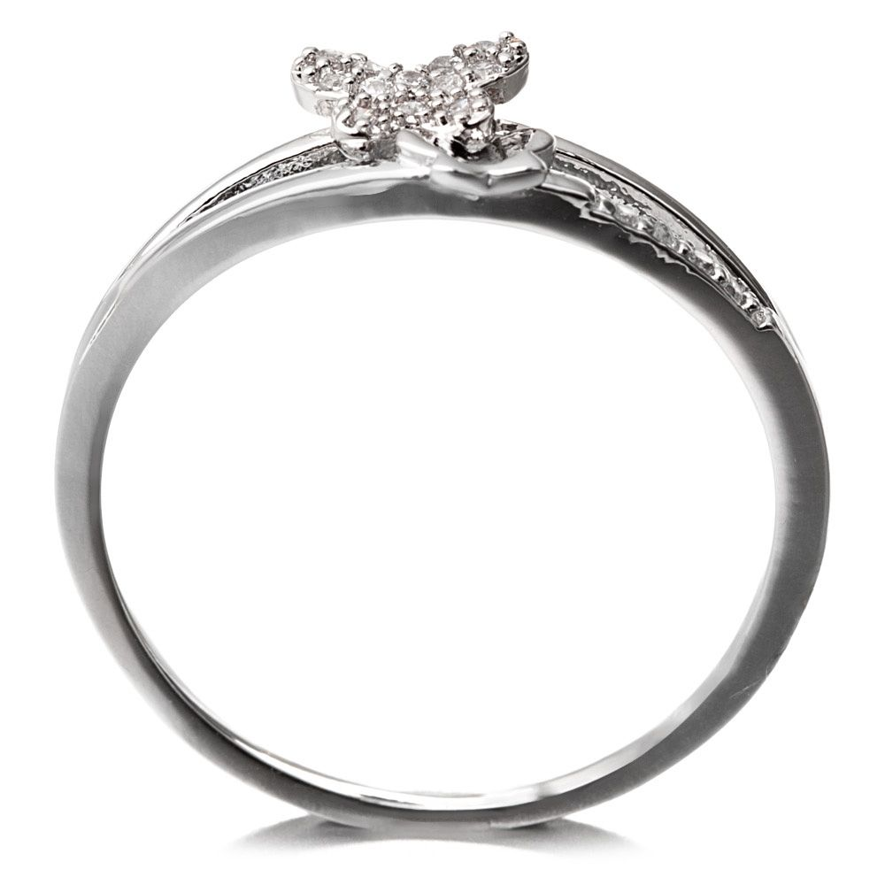 Rhodium Plated Butterfly Ring Cubic Zirconia and White
