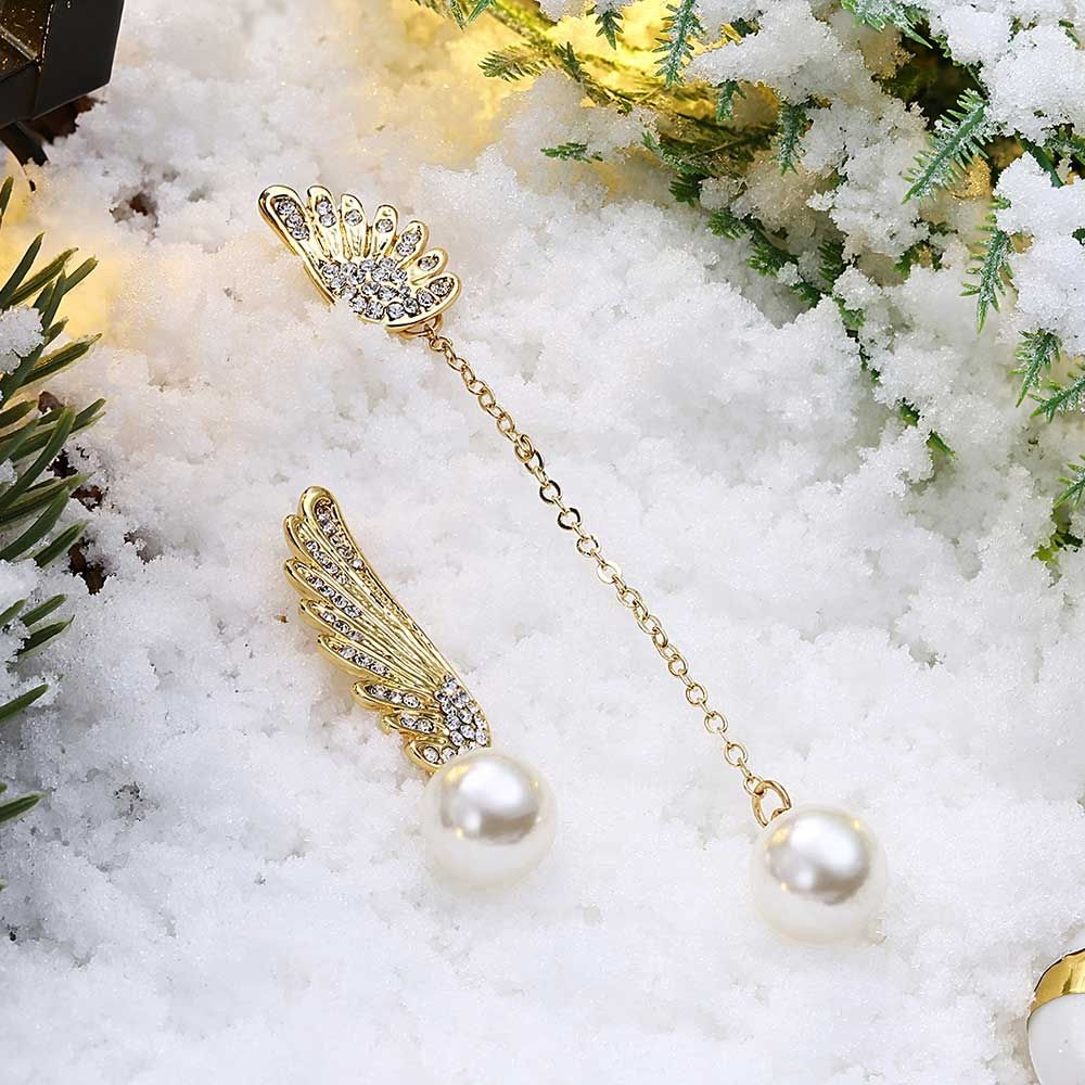 Swarovski - Winged Women Dangling Earrings with White Swarovski Crystal and Pearls