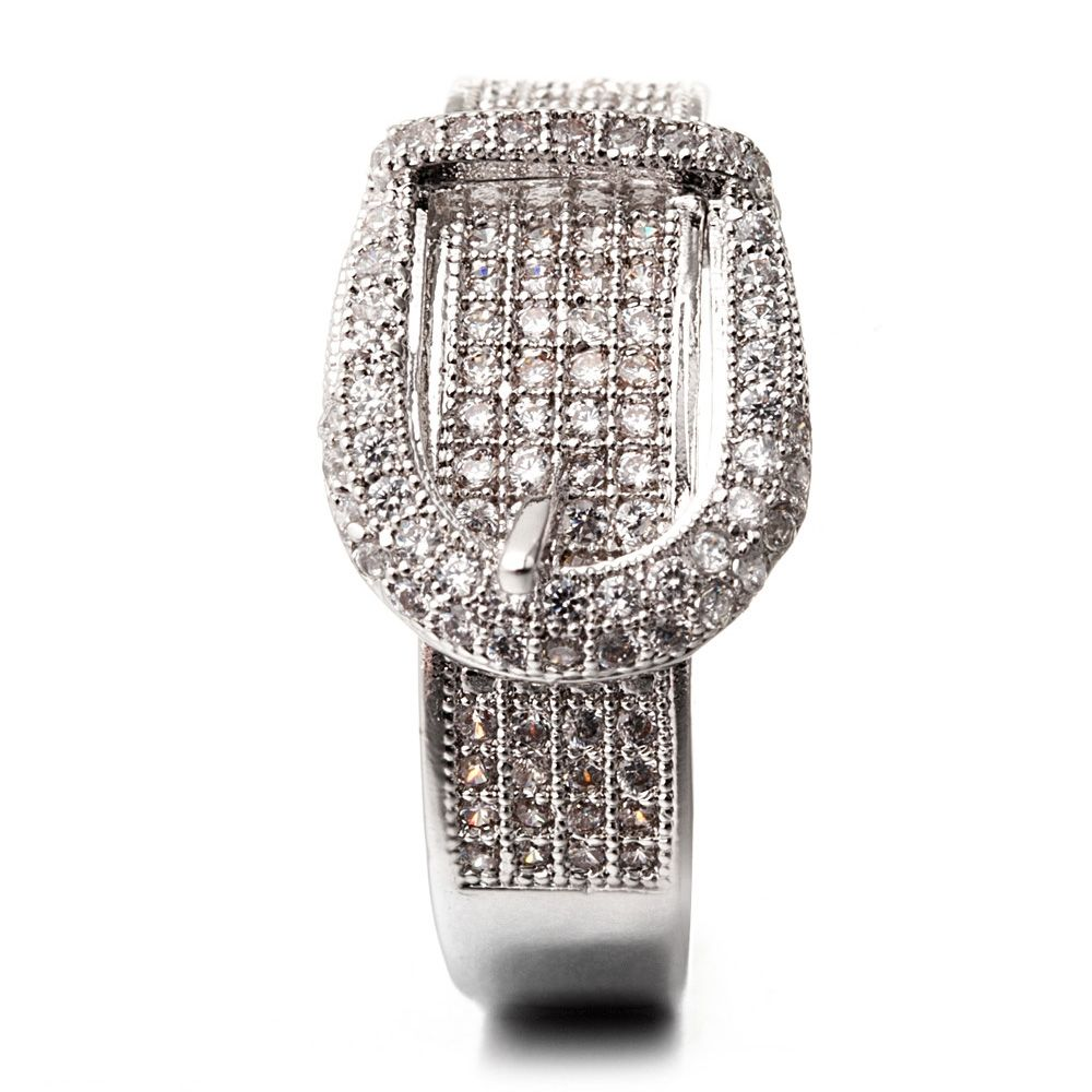 Rhodium Plated Ring and White Cubic Zirconia