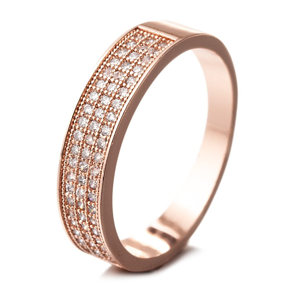 Pink Gold Plated Ring and White Cubic Zirconia