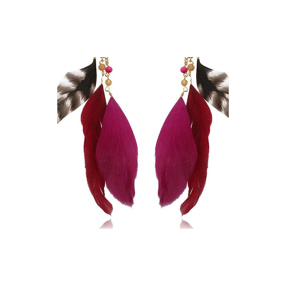 Fushia Pearls and Feathers Earrings