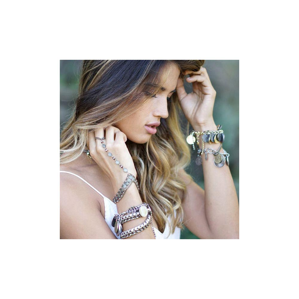 Ettika - Blue Leather Ribbons, Crystal and Yellow Gold Bracelet