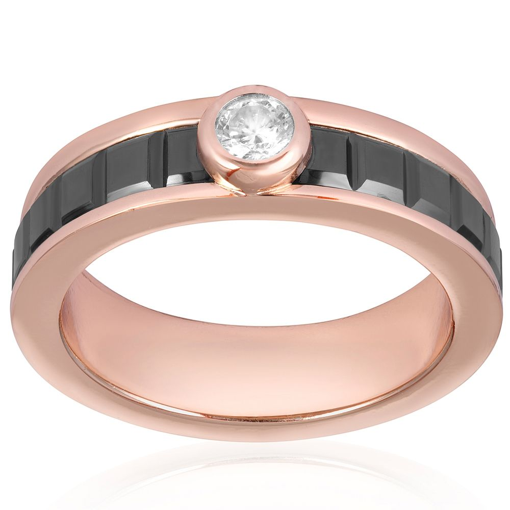 Rose Gold Plated, Black Ceramic and White Cubic Zirconia Ring