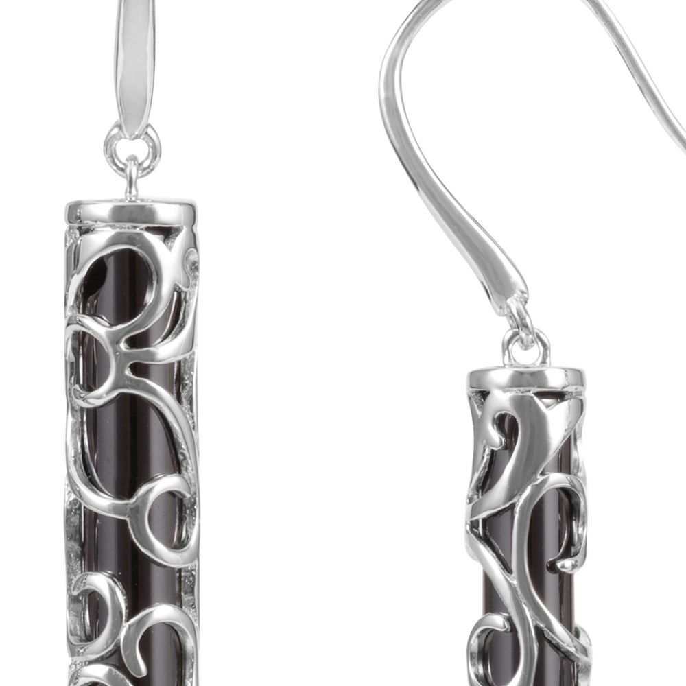 Black Ceramic Tiki Earrings and 925 Silver