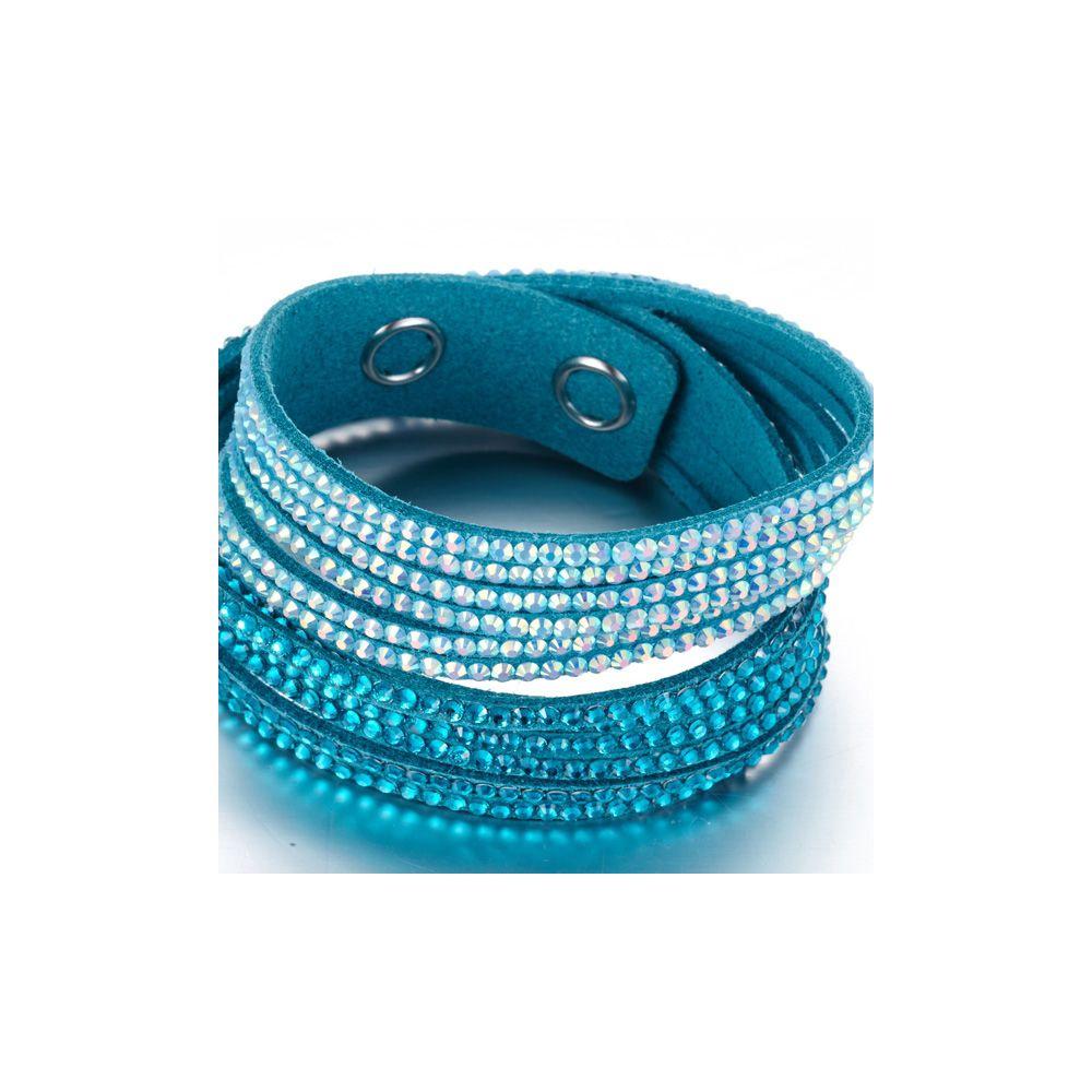 Swarovski - White and Blue Swarovski Crystal Elements and Turquoise Velvet 3 Rows Bracelet