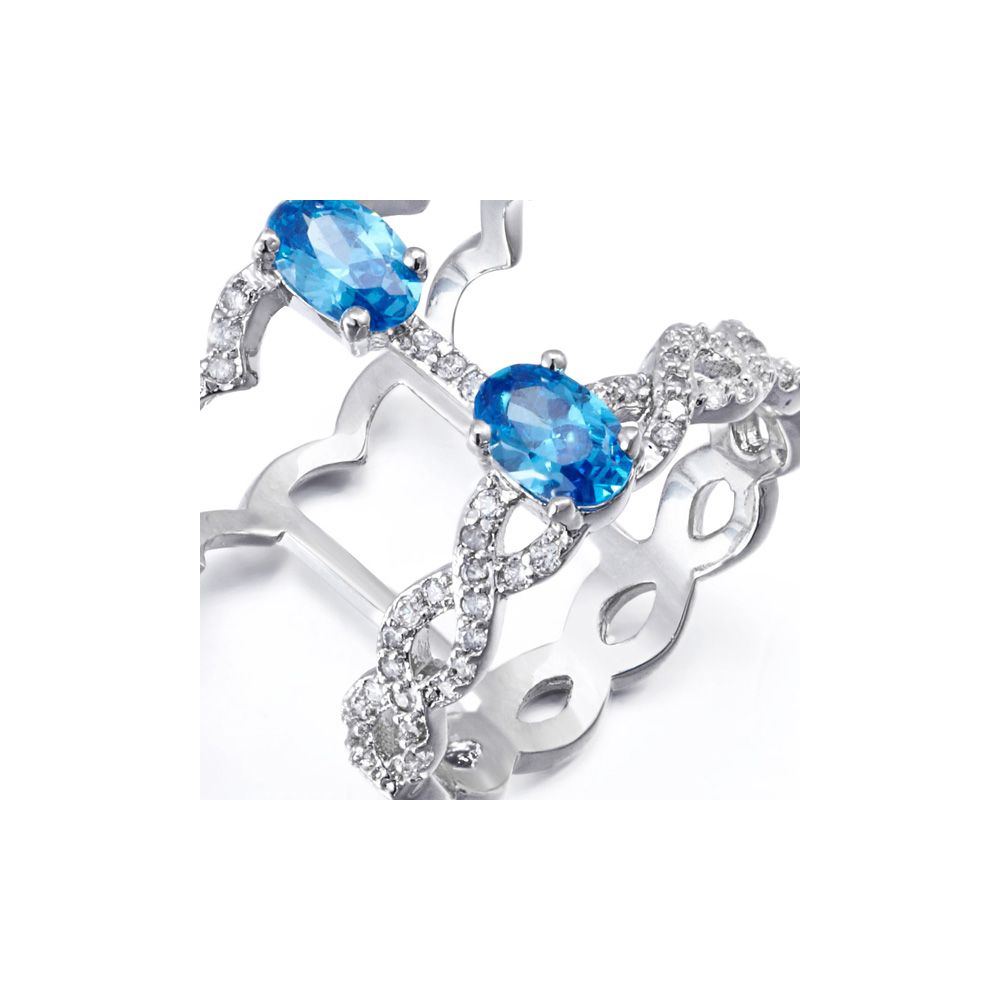 Swarovski - White and Blue Swarovski Elements Crystal Ring