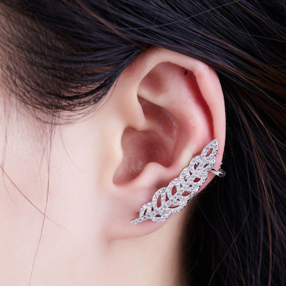 Swarovski - White Swarovski Crystal Elements Feather Ring Earring and Rhodium Plated