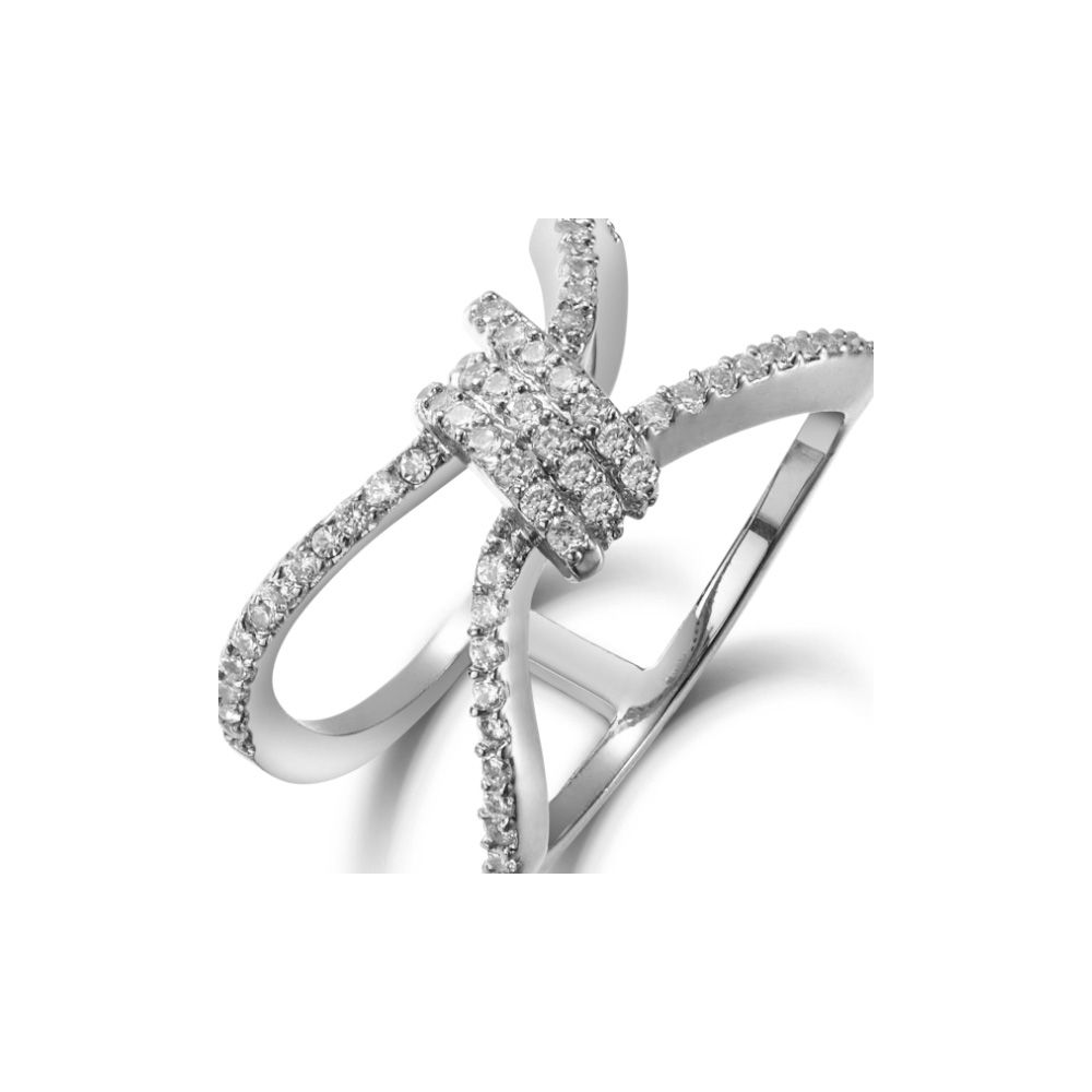 Swarovski - White Swarovski Elements Crystal and Rhodium Plated Ring