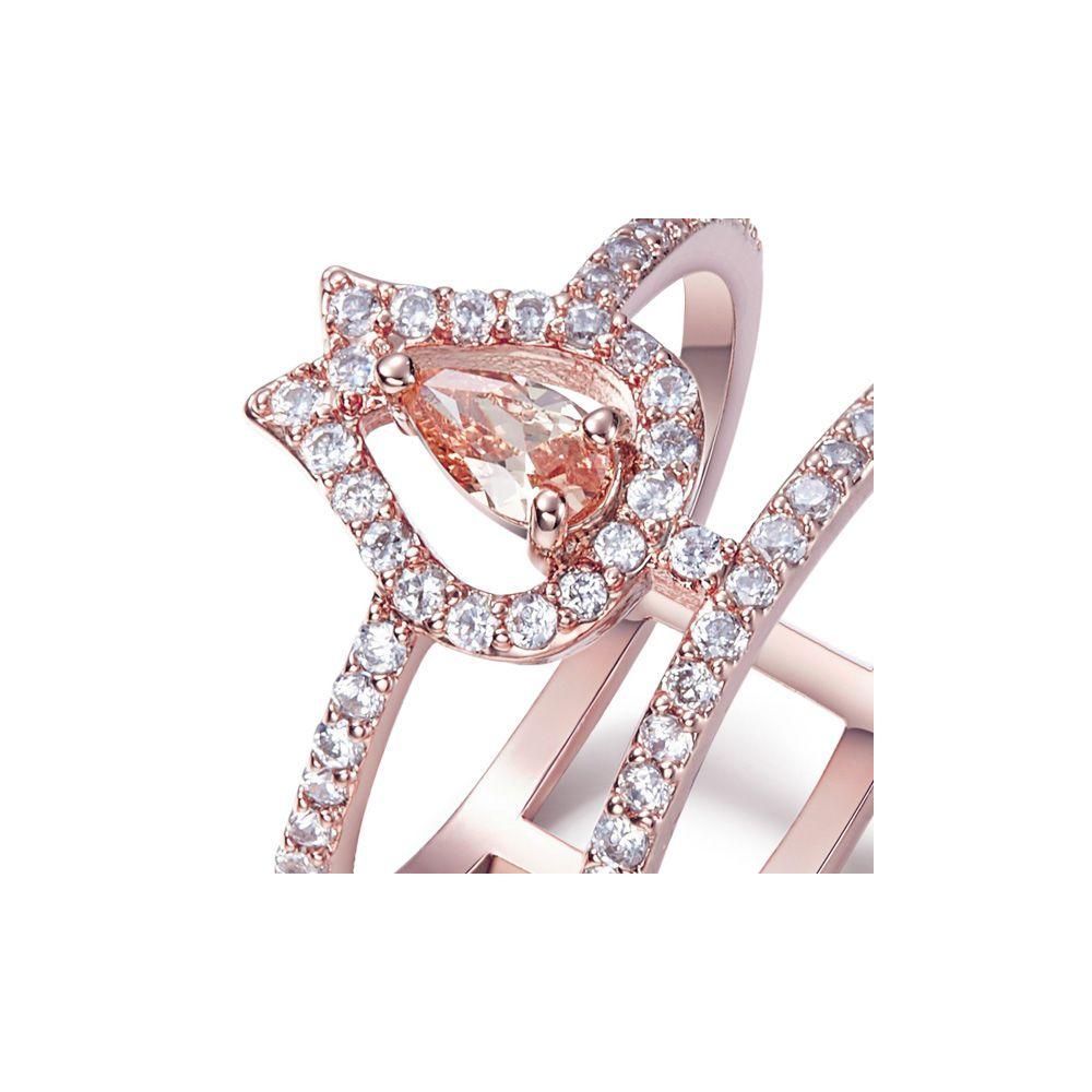 Swarovski - White and Orange Swarovski Elements Crystal and Rhodium Plated