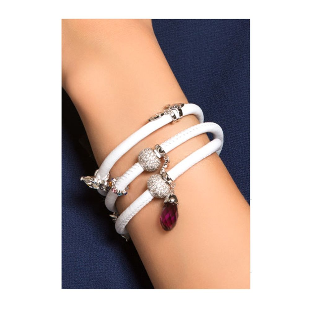 Swarovski - Charms Beads and Crystals Swarovski Elements White Leather Bracelet
