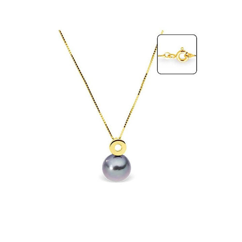Black Tahitian Pearl and Yellow Gold 375/1000 Necklace