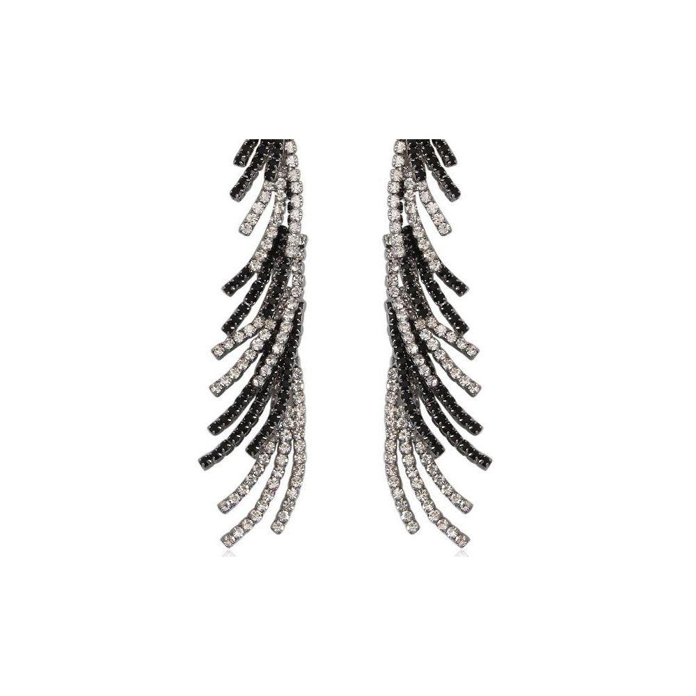 White and Black Crystal Dangling Earrings