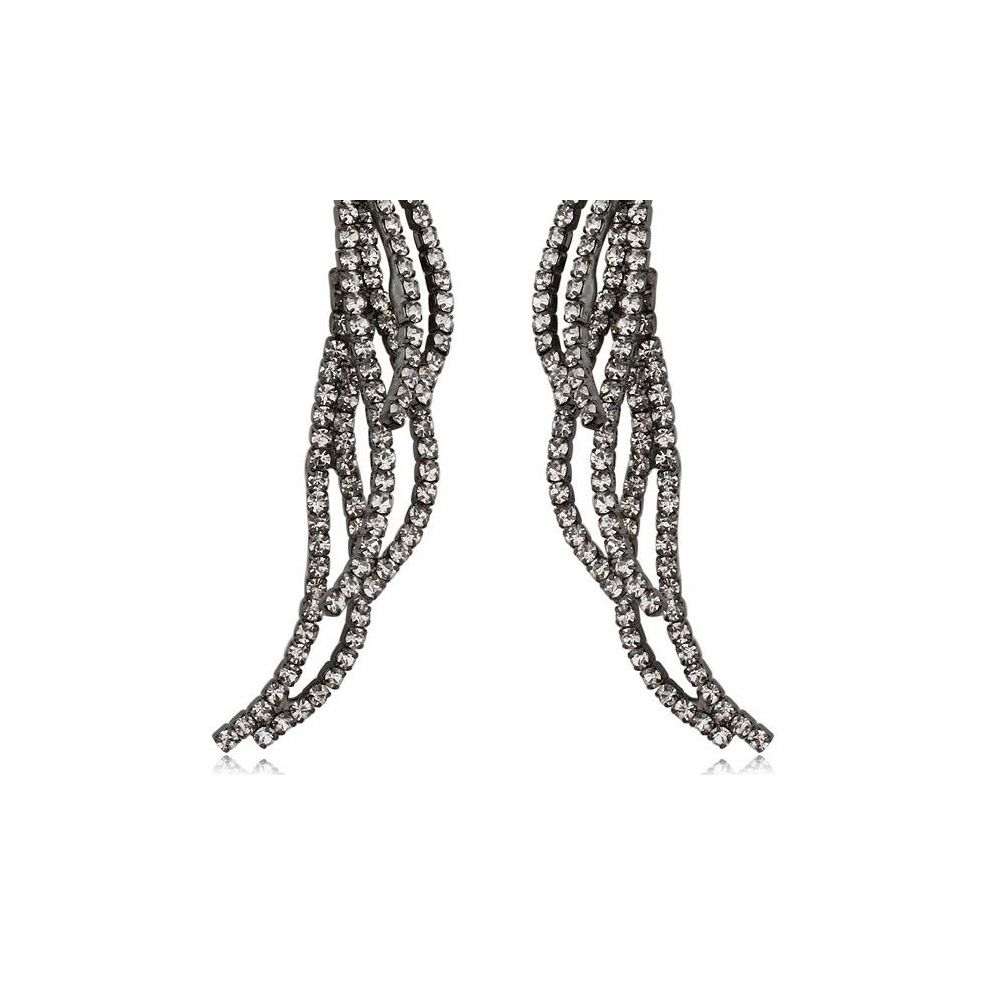 White Crystals Dangling Earrings