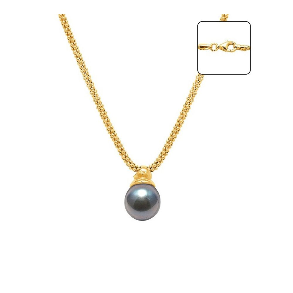 Black Tahitian Pearl Necklace and Yellow Gold 750/1000