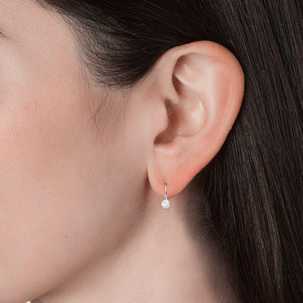 Swarovski - White Swarovski Elements Crystal and Pearl Dangling Earrings