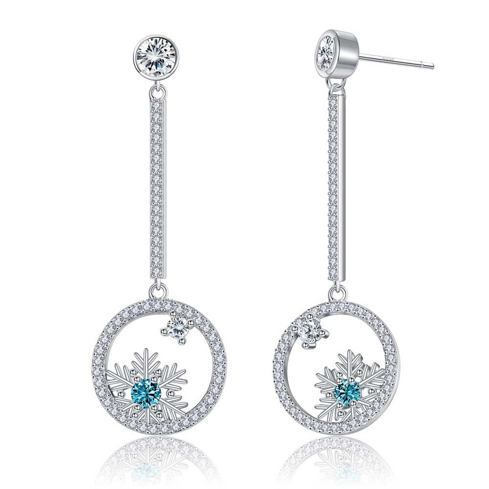 Swarovski - Drop Earrings Woman Snowflake Crystal Swarovski White and Blue