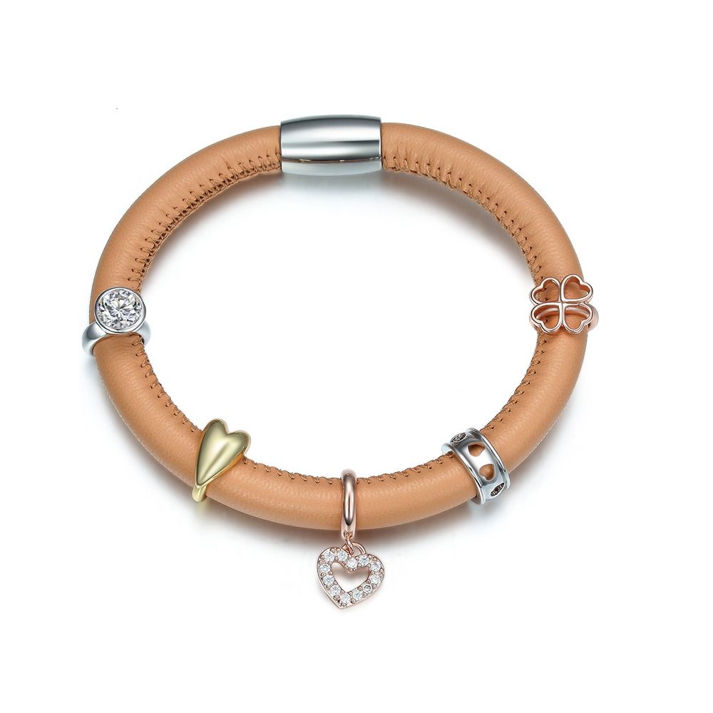 Beige Leather Charm's Bracelet and Stainless Steel