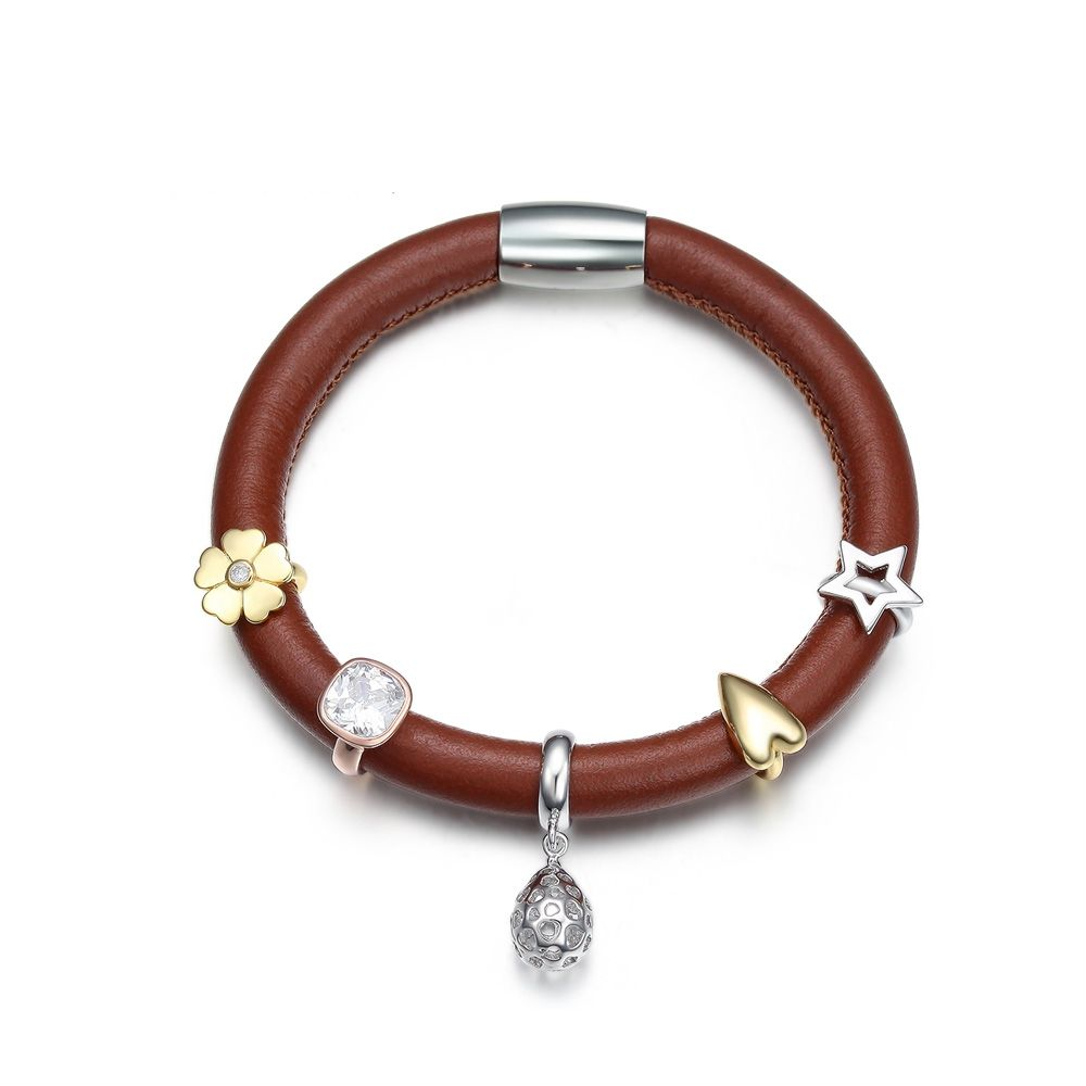 Light Brown Leather Charm's Bracelet and Stainless Steel